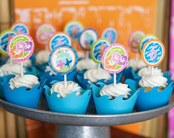 Blue Wave Cupcake Wrappers-Surf Pool Mermaid Party, Ocean Blue Cupcake Wrappers-Set of 12-Seen on Hoopla Events, Banner Events, Anders Ruff