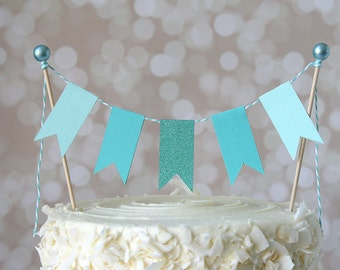 Aqua Cake Bunting Pennant Flag Mermaid Cake Topper-MANY Colors to Choose From!  Birthday, Wedding, Shower Cake Topper