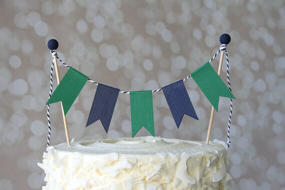 Marvelous Preppy Nautical Navy Blue Green Birthday Cake Bunting Etsy Funny Birthday Cards Online Inifodamsfinfo
