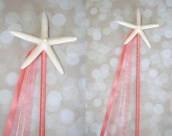 Coral Mermaid Starfish Birthday Wand/Beach Wedding Decor/Bridesmaid Flowergirl/Beach Wedding Aisle Decor-Many Colors To Choose-One Wand