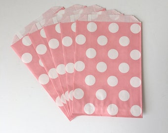 """Pink & White Large Polka Dot Flat Paper Bags   Birthday Party Baking Party Sweets Shop Favor Treat Bags   Set of 12   4.75""""x7.25"""""""