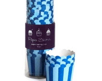 Paper Eskimo Blue Stripes Baking Cups - Cupcake Cups- Nut Cups - Candy or Ice Cream Cups - Set of 25