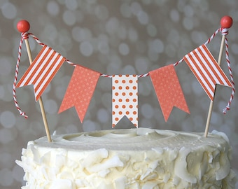 Coral Orange Polka Dot/Stripe Birthday Cake Bunting Pennant Flag Cake Topper-MANY Colors to Choose From!  Birthday, Shower Cake Topper