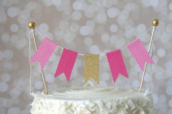 Surprising Pink Gold Pinkalicious Cake Bunting Pennant Flag Cake Etsy Birthday Cards Printable Benkemecafe Filternl