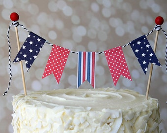 Red, White & Blue Patriotic 4th of July Cake Bunting Pennant Flag Cake Topper-MANY Colors to Choose From!  Birthday, Shower Cake Topper