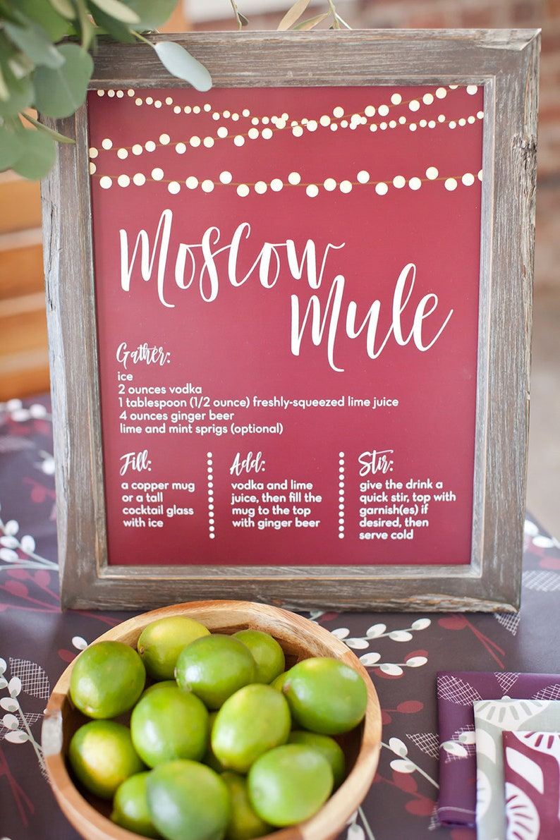 MOSCOW MULE Cocktail Print Sign-Bar Cart Print-Bar Art-Kitchen image 0