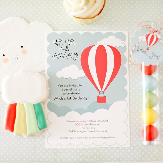 Up Up And Away Birthday Party Invitation Baby Shower Etsy
