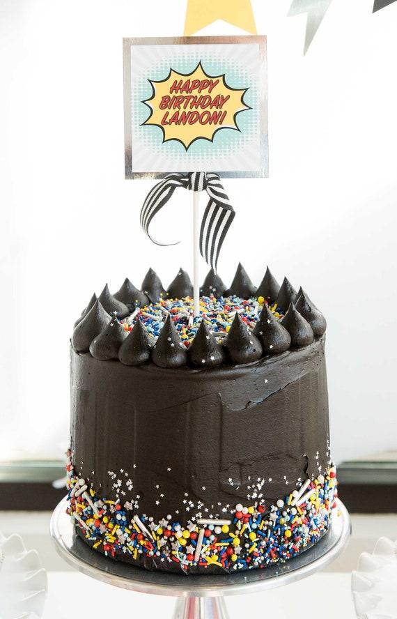 Astonishing Superhero Birthday Party Cake Topper Superman Spiderman Etsy Funny Birthday Cards Online Alyptdamsfinfo