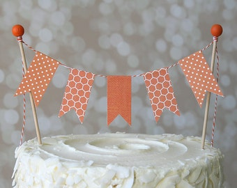 Orange Polka Dot/Honeycomb Cake Bunting Pennant Flag Cake Topper-MANY Colors to Choose From!  Birthday, Shower Cake Topper