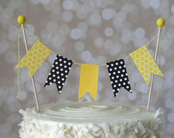 Yellow & Black Bumblebee Bee Cake Bunting Pennant Flag Cake Topper-MANY Colors to Choose From!  Birthday, Wedding, Shower Cake Topper