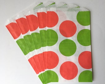 """Red & Green Large Polka Dots Flat Paper Bags   Birthday Party Favor Treat Sweets Bags, Christmas, Holiday Party   Set of 12   4.5""""x 7.5"""""""