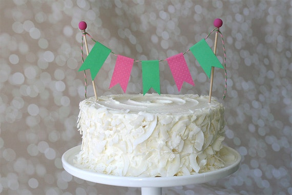 Incredible Preppy Hot Pink Green Birthday Cake Bunting Pennant Flag Etsy Funny Birthday Cards Online Overcheapnameinfo