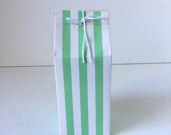 "Mint Green & White Stripes Party Favor Party Box, Milk Carton Style Top | Birthday Party | Set of 6 | 3""x3""x5"""