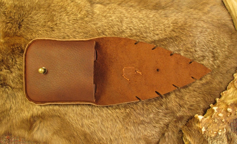 Red naga hide leather kender pocket with brass button stud closure and raven skull pendant P118 series A-F