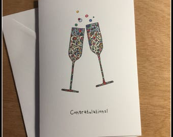 Congratulations Card, A5 card, handmade card, celebration card, champagne card, abstract card, colourful A5, unusual card