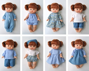 Minikane Doll Clothes Patterns, Set of 12 PDF Doll Clothing Patterns for 34 cm Paola Reina Gordi / Minikane dolls