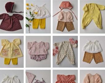 Set of 12 PDF Doll Clothes Patterns for 15 Inch Waldorf Dolls, Bamboletta Dolls, Wild Marigold Doll Clothes Patterns