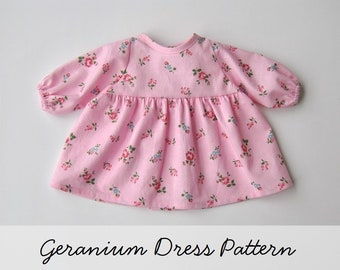 """Geranium Dress Pattern for the Wild Marigold Waldorf Baby Doll, 15"""" Doll Clothes Pattern"""