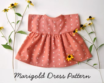 Marigold Dress Pattern for the Wild Marigold Waldorf Baby Doll, Doll Clothes Pattern