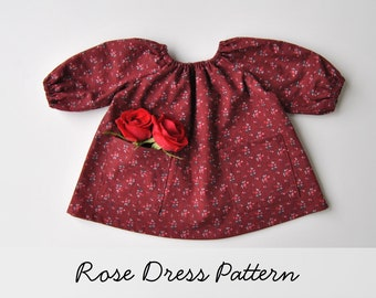 """Rose Dress Pattern for the Wild Marigold Waldorf Baby Doll, 15"""" Doll Clothes Pattern"""