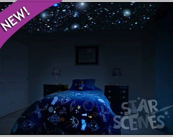 Reusable Realistic Glow Stars , 250x Glow In The Dark Star Ceiling Decals  For Bedroom + College Dorm Decor. Removable Ideal Gift For Renters