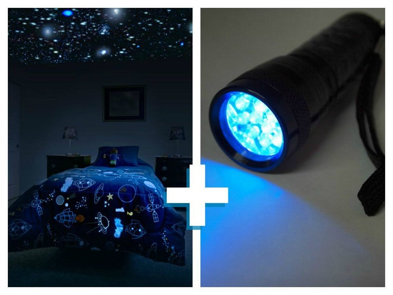 Glow in the Dark Star Ceiling kit with UV light for children\'s bedroom.  Realistic glow stars and UV light to supercharge your Star Ceiling.