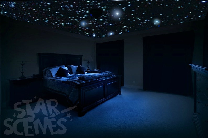 Home Theater Ceiling Star Decals - glow in the dark stars for entertainment  room, man cave, tv and games room, family room and billiard room