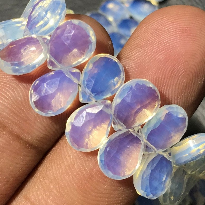 9/'Inch Size Sky Opalite Color Quartz In Cheap Price AAA Quality Opalite Quartz Gemstone Faceted Almond Shape Briolette Beads Size 7 to10 MM