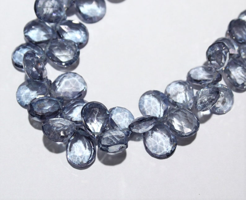 Faceted Pear Beads,Natural Rock Quartz Crystal Beads 10 to 14 mm 7 Inch Blue Color Crystal Quartz