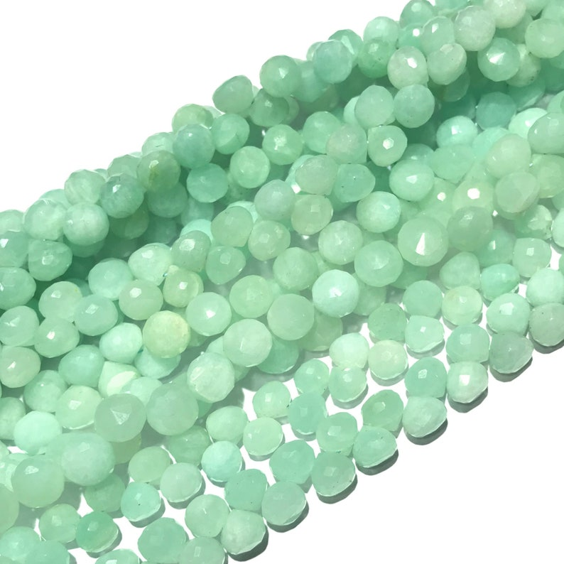50/% Off Amazonite Beads Onion Shape 7.5 to 8.5 mm Natural Amazonite Onion Shape Beads Faceted Loose Amazonite Gemstone Beads Full 8 Strand