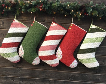Quilted Christmas Stockings Set Of Five 5 Christmas Etsy