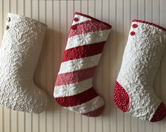Quilted Christmas Stocking, Choose One (1) Stocking, Red and White Candy Cane Stripe, Red and White Toe/Heel, White Christmas Stocking
