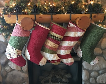 quilted christmas stockings set of five 5 christmas stockings farmhouse christmas stockings family christmas stockings - Quilted Christmas Stockings