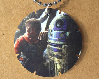 """Star Wars Luke R2D2 Up-cycled vintage Tazo necklace on 30"""" dog tag chain"""