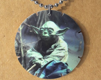 """Star Wars Yoda Up-cycled vintage Tazo necklace on 30"""" dog tag chain"""