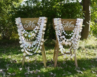 Wall hanging Hand-painted - DELYSIA multi-strand garland - Wedding Chair decoration - Delysia paper garland chair necklace