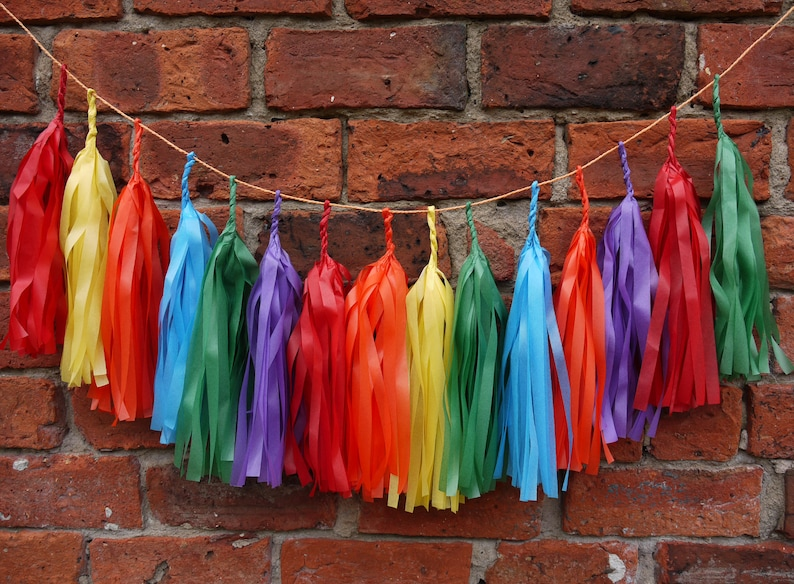 0870a6cfbfbc BABADOOK Rainbow colour large tassel garland Gay pride Gay | Etsy