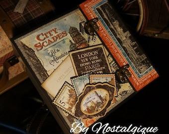 "8 1/2"" x 8 1/2"" City Scapes Graphic 45 Mini Album PDF Tutorial"