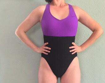 NIKE Racerback One Piece Color Block Swimsuit / 90s One Piece Bathing Suit / Racerback Swimsuit / High Cut Leg One Piece Swimsuit