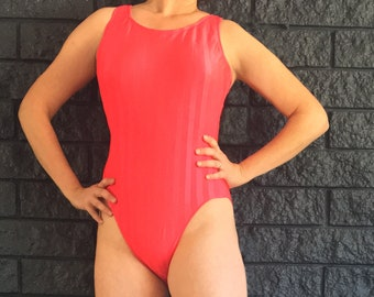CHEEKY French Cut One Piece Swimsuit / Hot Pink Swimsuit / Fuschia One Piece Swimsuit / High Cut Leg / Plunge Back One Piece Bathing Suit