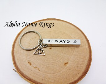 615eb6abe68 ALWAYS - Hallows- A Potterhead must have!! Custom Hand Stamped Aluminum Bar  Key Chain. Harry Potter Geek Quote