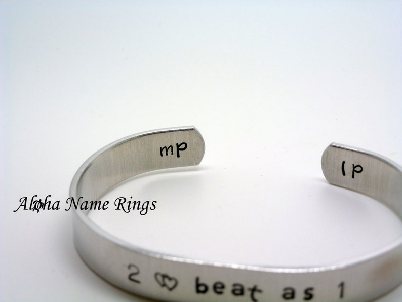 Custom Hand Stamped 2 hearts beat as 1 Personalized Aluminum Bracelet Adjustable and fits most.