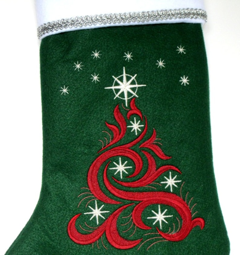Embroidered Christmas Stocking Personalized Felt Swirling Christmas Tree with Stars Custom