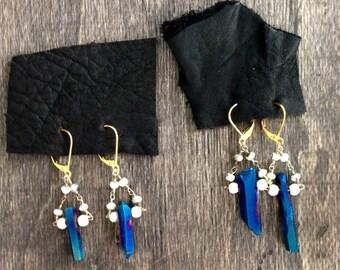 Blue metallic quartz earrings