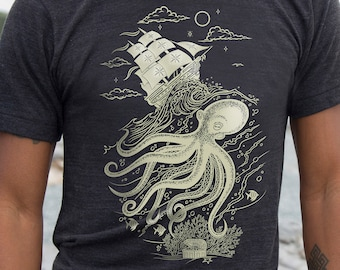 Octopus Shirt, Boyfriend Birthday Gift, Squid Shirt, Tentacle, Screen Print T Shirt, Sea Monster, Kraken Tee, Sailing Ship, Mens Tri Black