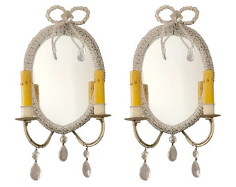 Pair of Antique Mirrored Wall Sconces, Hand-Beaded, Crystal Details on Frame