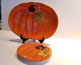 Hand-Painted Earthenware Pumpkin Serving Dish Set