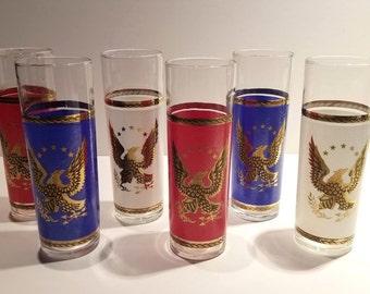 Vintage Patriotic Collins / Iced Tea Glasses - Set of 6
