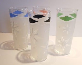 Tall Vintage Collins Glasses with Frosted Snowflake Design - Pink, Blue, Green and Black - Set of 4
