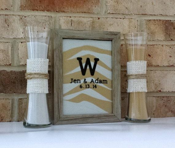 Personalized Rustic Barn Wood Wedding Sand Ceremony Frame Set Etsy